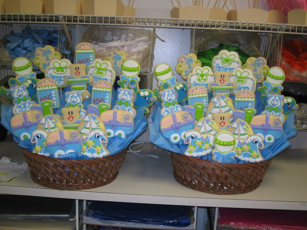 Babies showers and baptisms cookies by design englewood nj baby boy 25 cookie basket negle