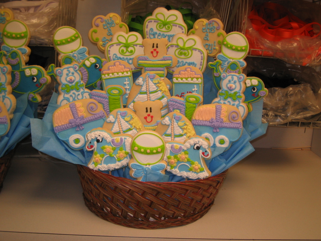Babies showers and baptisms cookies by design englewood nj baby boy 25 cookies basket 02 negle Gallery