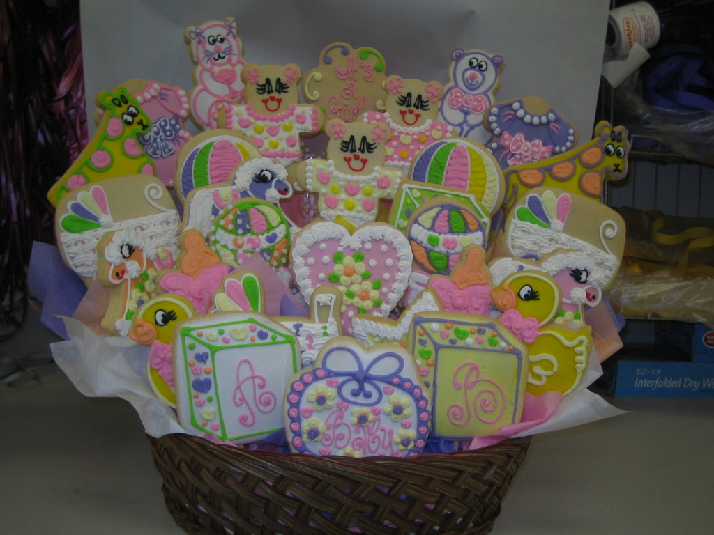 Large arrangements cookies by design englewood nj cookie gift large baby girl arrangement negle Image collections